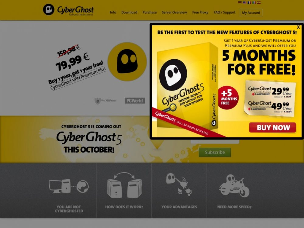 cyberghostvpn.com Screenshot