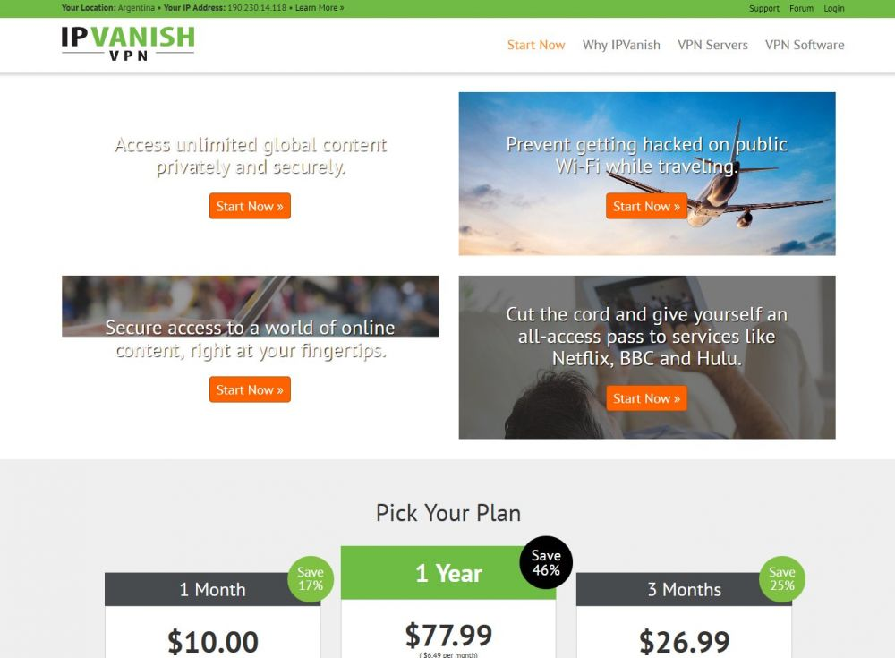 ipvanish.com Screenshot